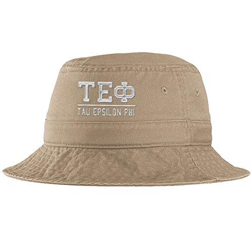(Men's Tau Epsilon Phi Fraternity Greek Letter Bucket Hat Khaki)