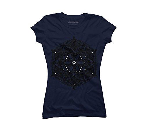 Stippled Star (Design By Humans Sacred Geometry Flower of Life Mandala Star Juniors' Small Navy Graphic T Shirt)