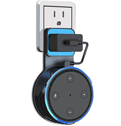 Outlet Wall Mount Holder for Echo Dot 2nd Generation, ALBK Firm Bracket of Your Smart Home Speakers(Charging Cable Included) No Messy Wires or Screws - Blue