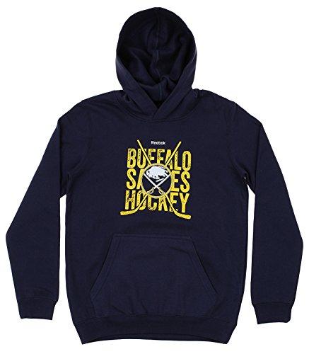 (Reebok NHL Youth Fleece Cross Sticks Hoodie, Buffalo Sabres Small (8))