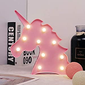 Fengyao Unicorn Night Light, Colorful Marquee Sign Light with Hanging Hole, Decorative LED Switch Light for Christmas Birthday Wedding Party, Battery Powered, 9.64 x 9.45 in (Pink)