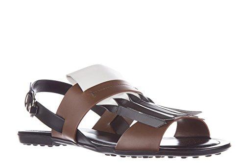 Tod's sandalias mujer en piel nuevo marrón