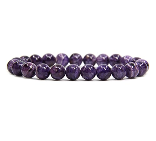 (Natural A Grade Russian Charoite Gemstone 8mm Round Beads Stretch Bracelet 7
