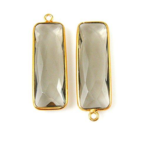 Bezel Charm Pendant-Vermeil Charm-Gold Plated Gemstone Charm Pendant-Smokey Quartz-Elongated Rectangle-34 by 11mm-(2 pcs)- (Gold Plated Smokey Quartz)