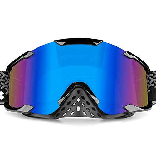 BATFOX Motorcycle Goggles Interchangeable Lenses Dirt Bike ATV Motocross Safety ATV Tactical Riding Motorbike Glasses Goggles for Men Women Youth Fit Over Glasses Detachable Nose Guard (Blue) ()