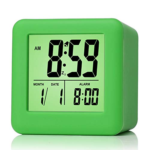 Plumeet Easy Setting Digital Travel Alarm Clock with Snooze, Soft Nightlight, Large Display Time/Date/Alarm, Ascending Sound Alarm/Handheld Sized, Best Gift for Kids (Neon Green)