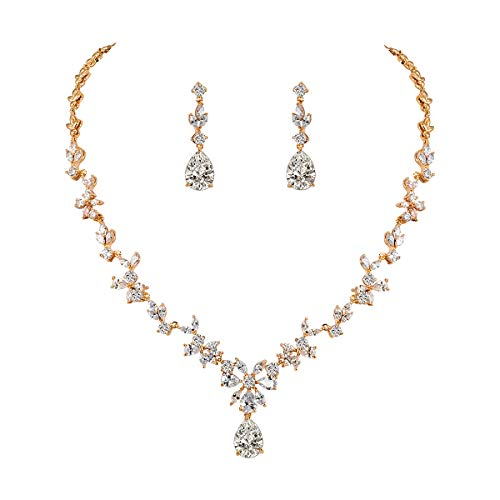 WeimanJewelry Women Cubic Zirconia Marquise Teardrop Bridal Necklace and Dangling Earring Jewelry Set for Wedding (Gold)