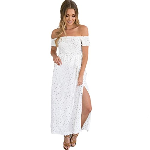 Coohole New Fashion Women's Off Shoulder Dot Boho Long Maxi Evening Party Beach Dress Floral Sundress (White, M) Review