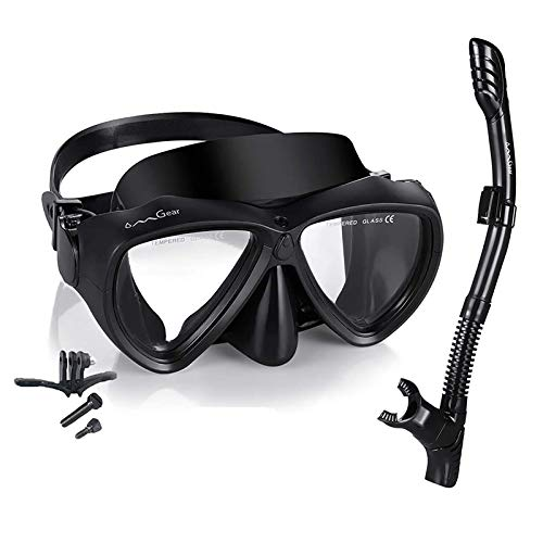 OMGear Snorkel Set Snorkeling Gear Package Diving Set Premium Silicone Dive Goggles Snorkel Equipment Goggles Anti-Fog Anti-Leak Neoprene Strap Scuba Diving Freediving Swimming (Black-Camera)
