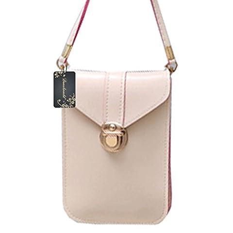 Donalworld Matte PU Leather Mini Crossbody Single Shoulder Bag Phone Pouch Beige