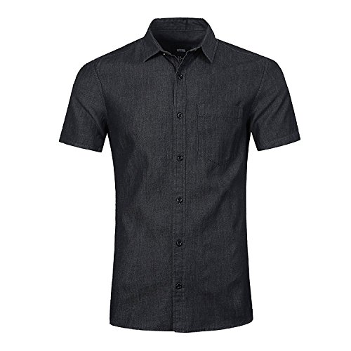NUTEXROL Men's Cotton Short-Sleeve Denim Work Shirt (X-Large, - Sleeve Denim Short Shirt Cotton
