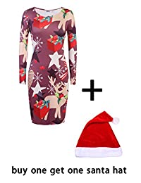 Meaneor Women O-Neck Long Sleeve Christmas Bodycon Xmas Gifts Pencil Dress