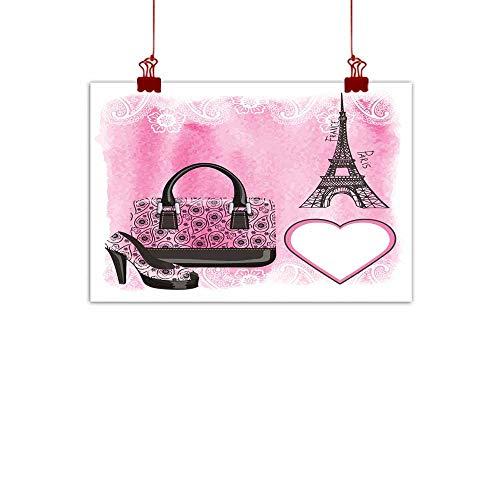 Art Oil Paintings Handbag Shoe Eiffel Tower Paisley Watercolor Splash Canvas Prints for Home Decorations 20
