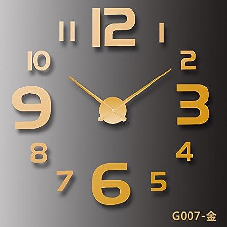 XWAN-Moda creativa Espejo acrílico reloj de pared Reloj Reloj Digital Living Room personalidad minimalista moderno Golden: Amazon.es: Hogar