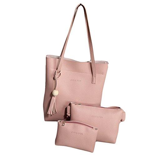 3Pcs/Set Women Faux Leather Tassel Handbag + Cross Body Shoulder Bag + Clutch Lady Handle Satchel Purse Set Tote Bag Gift Pink