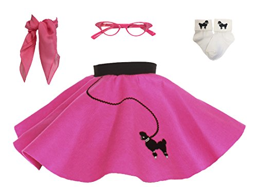 Hip Hop 50s Shop Toddler 4 Piece Poodle Skirt Costume Set Hot Pink
