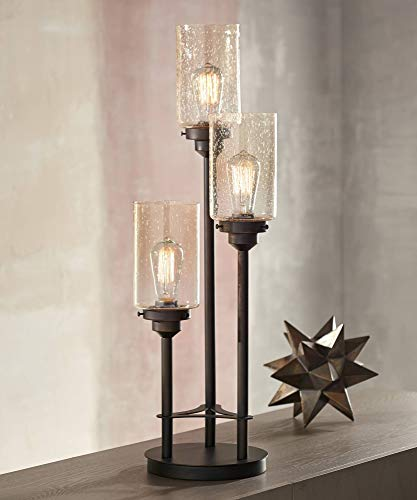 Libby Modern Industrial Console Table Lamp Bronze 3-Light Amber Seedy Glass Shade for Living Room Bedroom Office - Franklin Iron Works ()