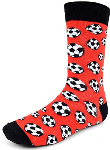 Men's Fun Crew Socks, Sock Size 10-13 / Shoe Size 6-12.5, Great Holiday/Birthday Gift (Soccer -
