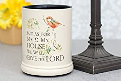 Elanze Designs As for Me and My House Joshua 24:15 Ceramic Stoneware Electric Large Jar Candle Warmer