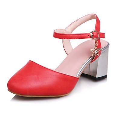 LvYuan Mujer-Tacón Robusto-Talón Descubierto Zapatos del club-Zuecos y pantuflas-Vestido Informal Fiesta y Noche-Semicuero-Rosa Rojo Beige beige