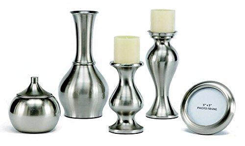 Ashley Furniture Signature Design - Rishona Accessory Set - Metallic Sheen - Set of 5 - Brushed Silver Finish (Metallic Finish Sheen)