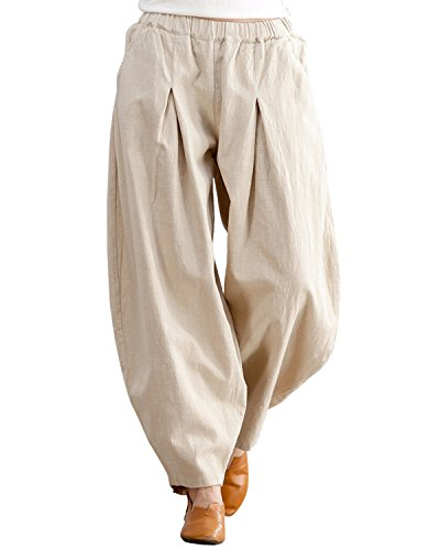 IXIMO Women's Casual Cotton Linen Baggy Pants with Elastic Waist Pleated Tapered Capri Trousers with Pockets Beige M ()