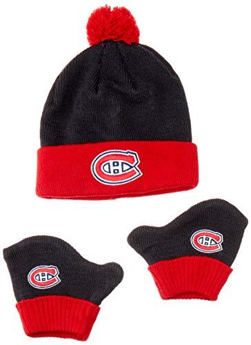 (OTS NHL Montreal Canadiens Pow Knit Cap & Mittens Set, Navy, Infant )
