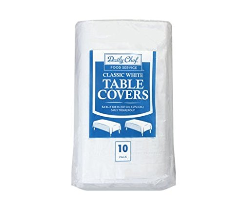 Daily Chef Disposable Table Cover, White, 1 pack of 10 - Table Cover Poly Lined