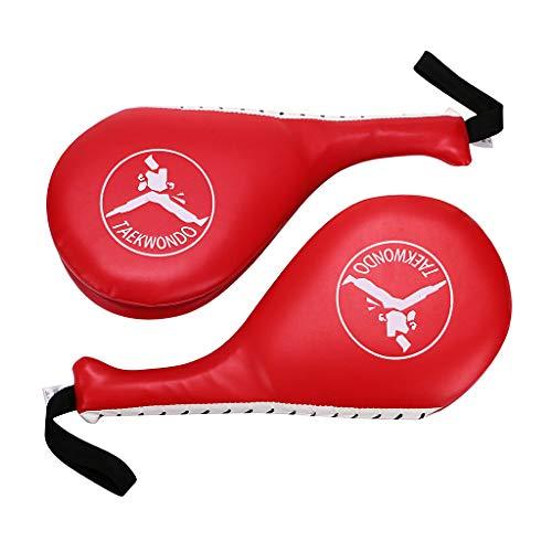 Hipiwe Taekwondo Kick Pad Target Durable TKD Kicking Targets Training Paddles Double Face Tae Kwon Pads (Style 2,Red,1 Pair) (Best Kicking Martial Arts)