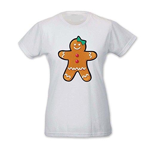 T Shirt Donna Idea Regalo di Natale Omino Pan di Zenzero Bianca M