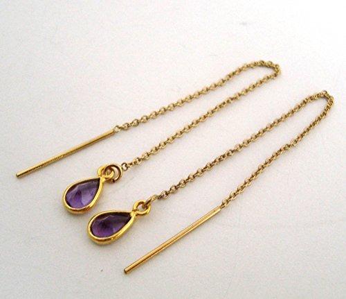 purple amethyst birthstone 14k yellow gold filled earrings (Gold Amethyst Threader Earrings)