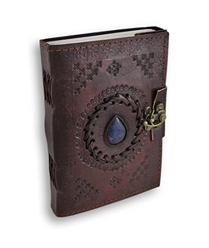 jaald Handmade embossed leather journal refillable travel journal pocket diary unruled blank