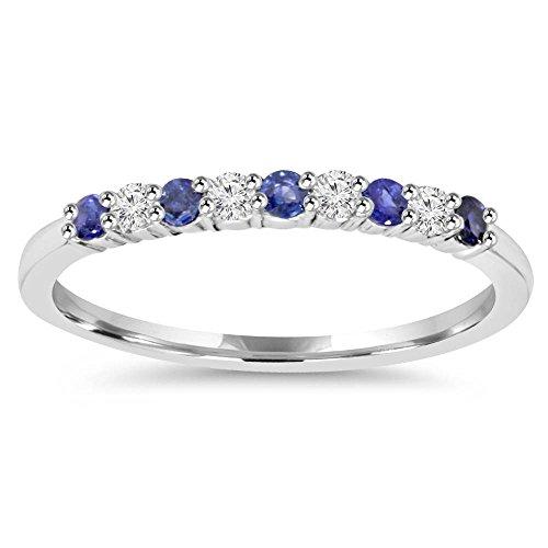 Band Gold Blue Sapphire - 1/4CT Blue Sapphire & Diamond Wedding Ring 10K White Gold - Size 6