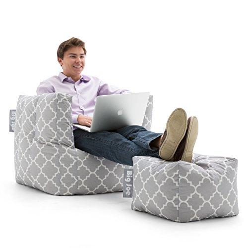 Bean Gray Bag Chair (Big Joe Cube /w Ottoman in Smartmax, Gray Quatrafoil)