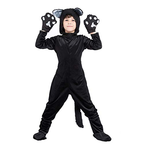Meeyou Kids Black Cat Costume for Boys/Girls Cosplay, Child Animal Playful Jumpsuit,Size M,Height:48