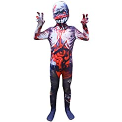 3D Printed Spandex Zentai Full Bodysuit Mask Zombie Cosplay Halloween Costumes for Unisex Kids
