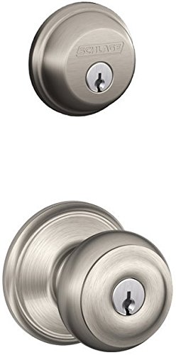 Schlage FB50NVGEO619 Satin Nickel Georgian Keyed Knob Front Entry Set