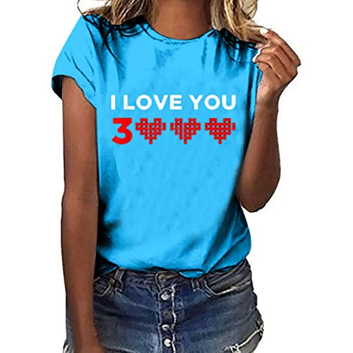 Women's Summer Casual Sexy Short Sleeve O Neck Patch Tee Loose Printed Simple T-Shirt Top Blue