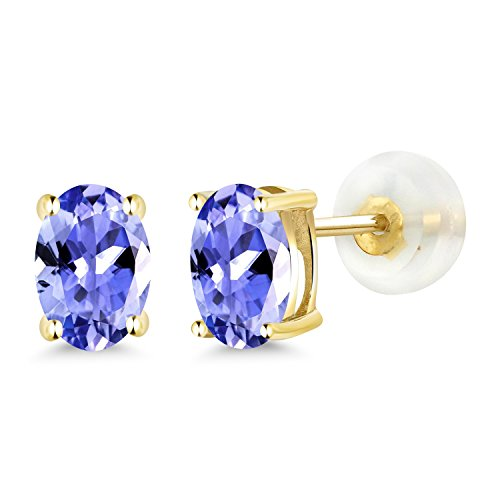 Gem Stone King 0.90 Ct Oval 6x4mm Blue Tanzanite 14K Yellow Gold Stud Earrings