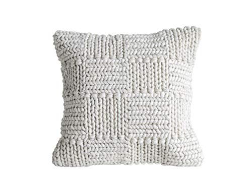 Creative Co-Op Square Wool Knit Pillow in Cream (Coop Knits)