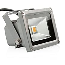 LEDMO 10W Warm White LED Flood Light Outdoor Floodlight Spotlight AC85-265 IP65 Lamps, 3000K, 800lm, 50W Halogen Equivalent, Security Lights, Floodlight