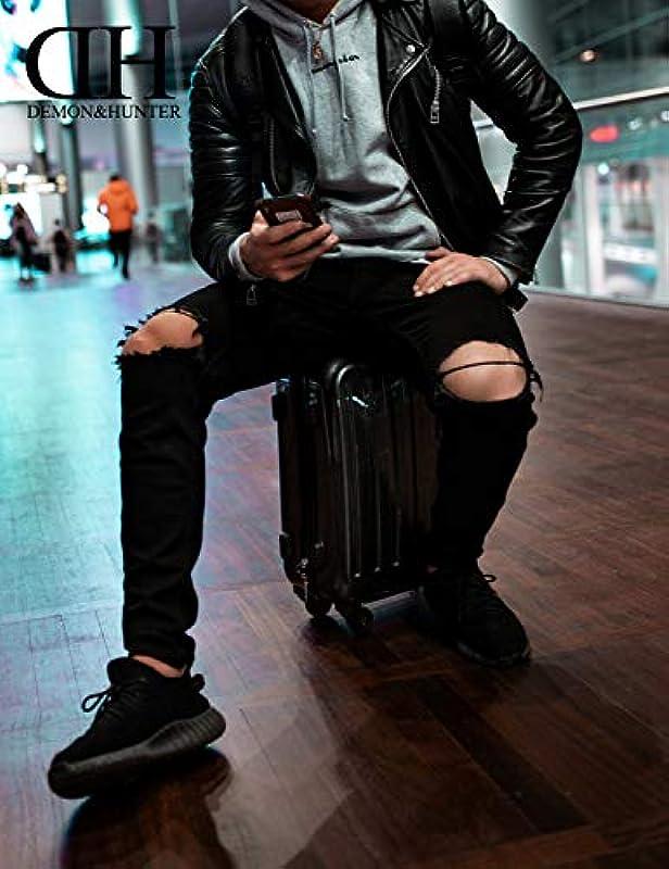 Demon&Hunter Męskie dżinsy Skinny Fit dżinsy męskie ze stretchem: Odzież