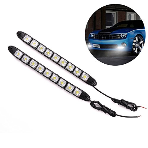 Amon Tech Car LED Strip Lights - 2pcs DC 12V with 9 Bulbs for Daytime Running, Brake Lights and Rear Fog Lights Compatible with Truck, SUV, Xenon White