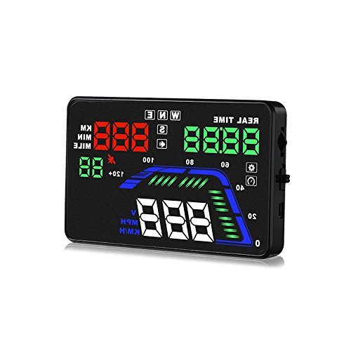 - Pyle Universal 5.5'' Car HUD Head-Up Display Multi-Color Windshield Screen Projector Vehicle Speed & GPS Navigation Compass, Plug & Play, With  Speed, Time, Altitude & More (PHUD15)
