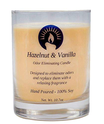 (100% Soy Hand Poured Odor Eliminating Candle, Hazelnut & Vanilla Scented, Brandon's Candles, 10.7 oz Candle)