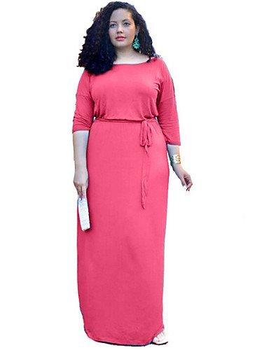 GSP-Damen Kleid - Übergrößen Übergröße Solide Maxi Polyester / Elasthan Rundhalsausschnitt