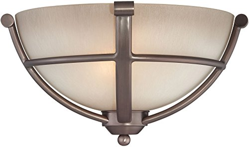 Minka Lavery 1420-281 2 Light Wall Sconce in Harvard Court Bronze Finish w/ Light French Scavo (French Scavo Glass)