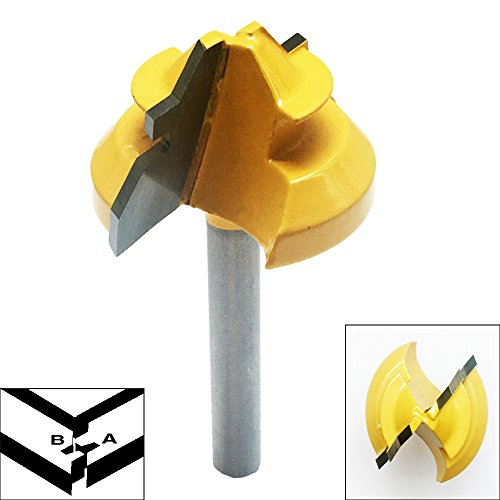 45 Router Degree Lock Miter (Lock Miter, 1-3/8'' Diameter 1/4'' Carbon Steel Shank 45 Degree Joint Router Bits Woodworking Cutter Tool)