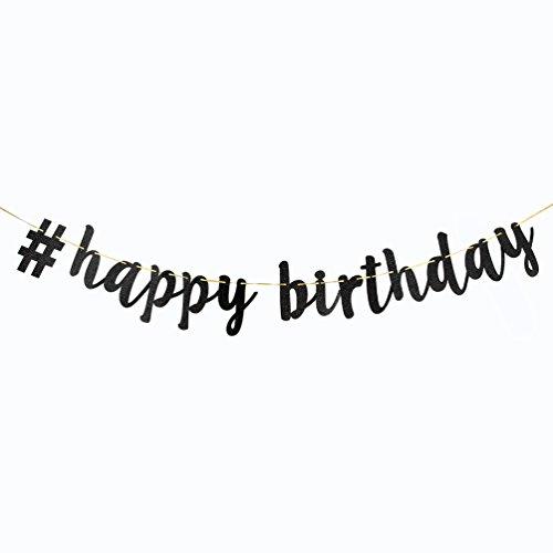 INNORU # Happy Birthday Banner Black Glitter Birthday Decorations -