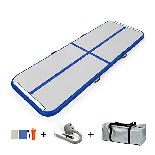 JC-ATHLETICS 9.84ft/13.12ft/16.4ft/19.68ft Air Track Tumbling Mat Inflatable Gymnastics Airtrack with Electric Air Pump for Practice Gymnastics, Tumbling,Parkour,Water Yoga(ATK-3BLUE)